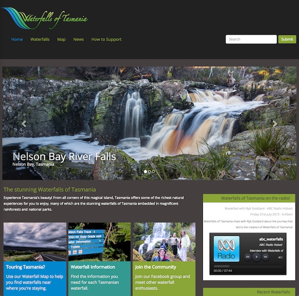 Waterfalls of Tasmania website